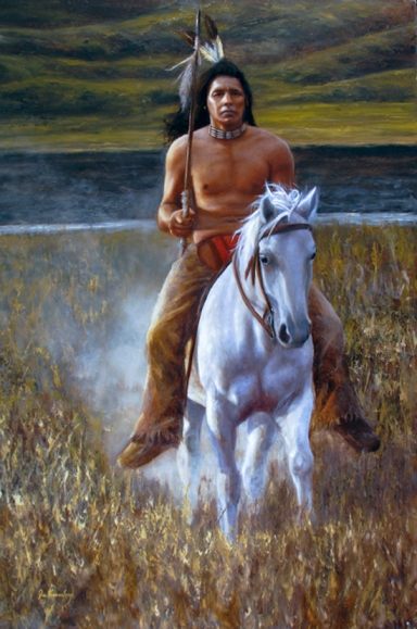 """Defender of the Plains"" Oil 37x26, by Joe Kronenberg"